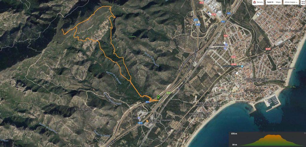 Track de la ruta sobre el Google Earth.